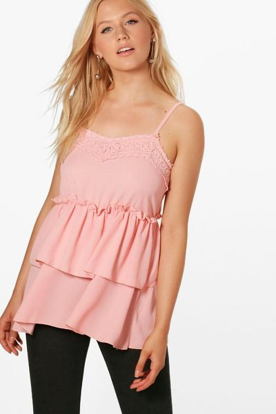 Boohoo Maya Lace Double Frill Cami in blush - Steal the style top spot in a statement separate from...
