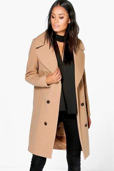 BOOHOO Maya Oversized Collar Double Breasted Coat in camel - Wrap up in the latest coats and jackets and get...