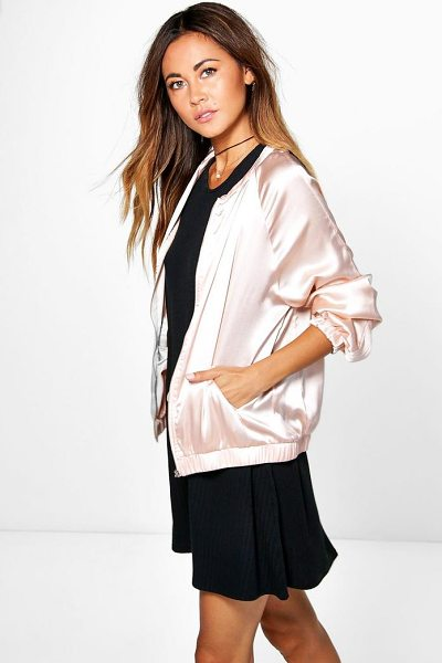 Boohoo Maya Satin Bomber Jacket in nude - Wrap up in the latest coats and jackets and get...