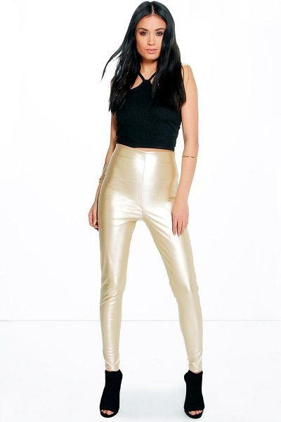 Boohoo Maya Skinny Side Zip Leather Look Trousers in gold - Trousers are a more sophisticated alternative to...