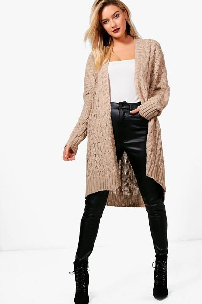 Boohoo Slouchy Cable Knit Cardigan in stone