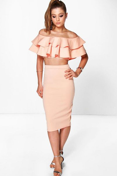 Boohoo Meeka Double Ruffle Crop & Midi Skirt Co-Ord Set in apricot - Co-ordinates are the quick way to quirky this seasonMake...