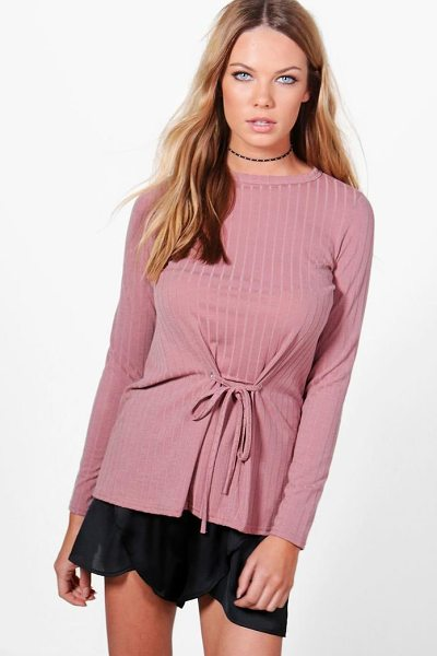 Boohoo Megan Corset Detail Rib Knit Top in antique rose - Steal the style top spot in a statement separate from...