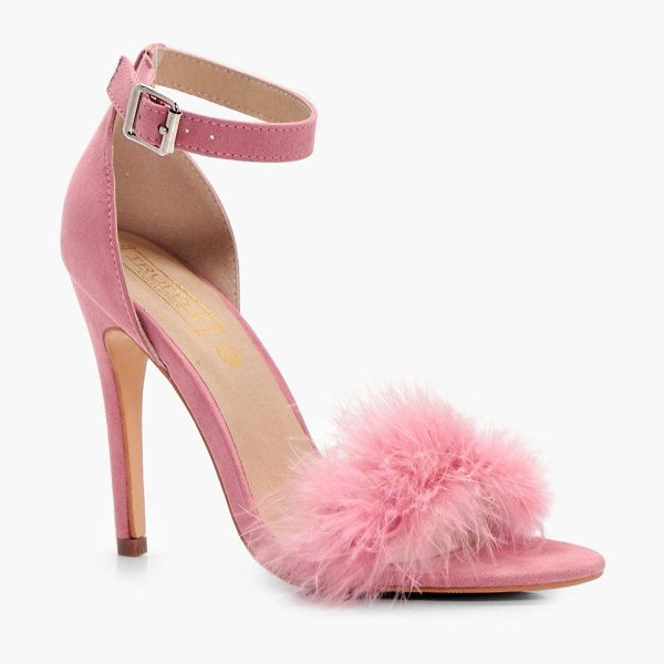 BOOHOO Megan Feathered Trim Two Part Heel - We'll make sure your shoes keep you one stylish step...