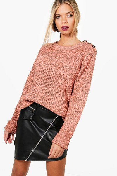 BOOHOO Megan Marl Knitted Button Detail Fisherman Jumper - Nail new season knitwear in the jumpers and cardigans...
