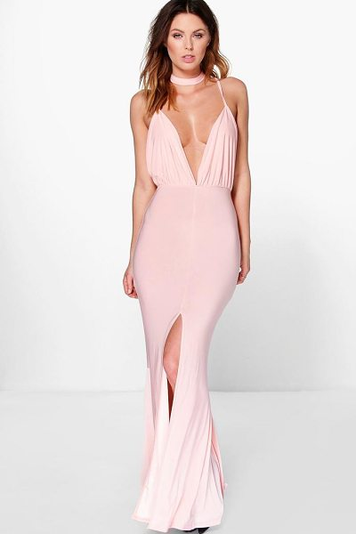 BOOHOO Megan Neck Band Detail Plunge Maxi Dress - Dresses are the most-wanted wardrobe item for...