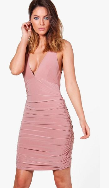 Boohoo Megan Slinky Ruched Bodycon Dress in mink - Dresses are the most-wanted wardrobe item for...