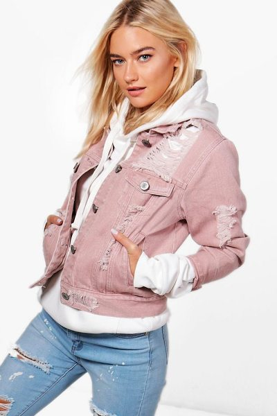 Boohoo Melanie Distressed Twill Jacket in mocha - Wrap up in the latest coats and jackets and get...