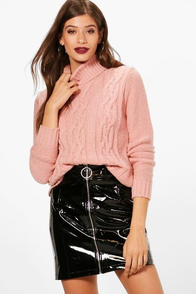 Boohoo Cable Roll Neck Jumper in blush - Nail new season knitwear in the jumpers and cardigans...