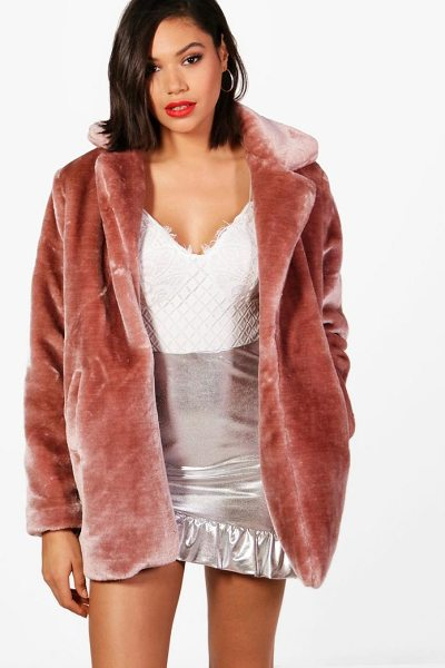 Boohoo Melissa Collared Faux Fur Coat in rose - Warm up in style and instantly elevate your look with a...