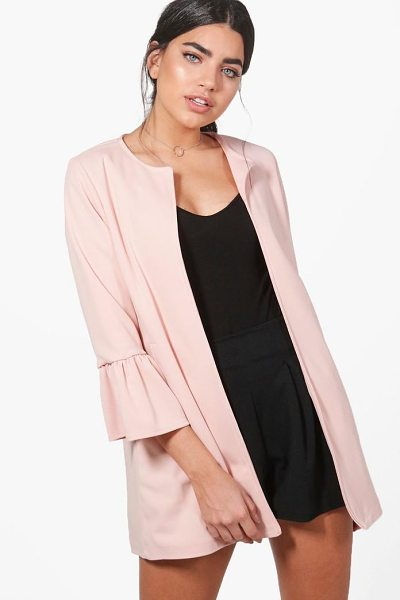 Boohoo Melissa Collarless Ruffle Sleeve Blazer in blush - Wrap up in the latest coats and jackets and get...