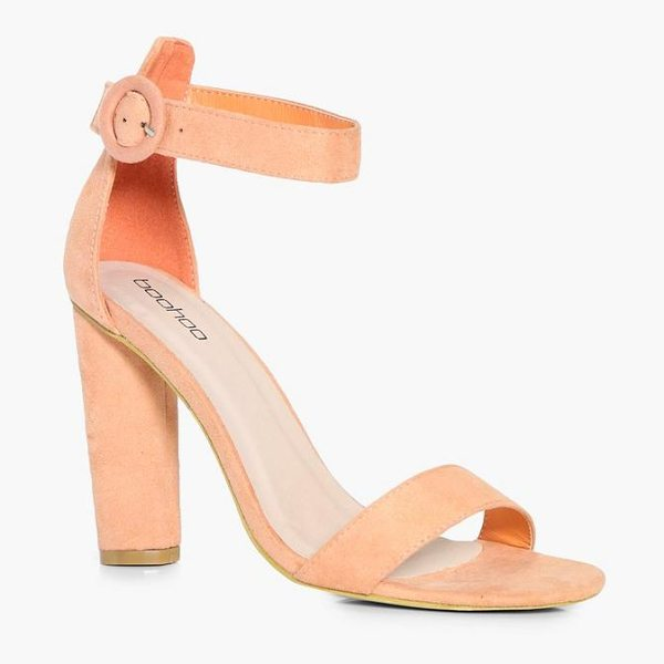 Boohoo Melissa Mid Cylinder Heel Two Parts in peach