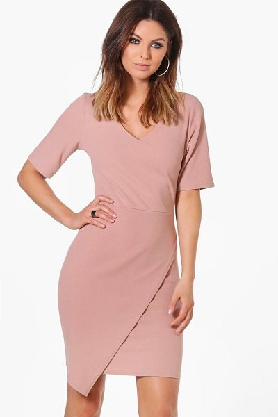 Boohoo Melissa Wrap Front Dress in tan - Dresses are the most-wanted wardrobe item for...