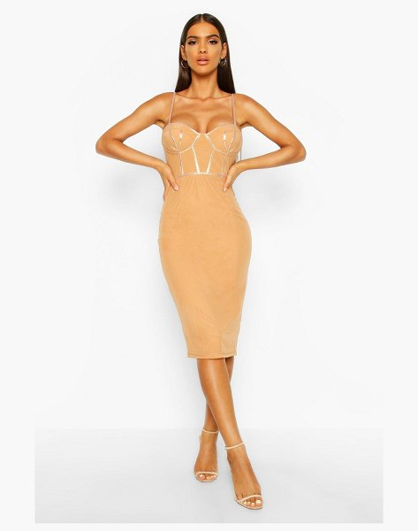 Boohoo Mesh PU Corset Midi Dress in camel