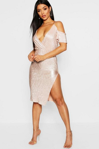Boohoo Metallic Cold Shoulder Midi Dress in blush - Dresses are the most-wanted wardrobe item for...
