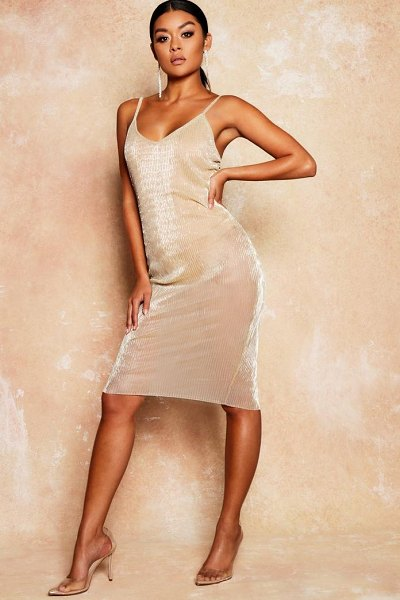 Boohoo Metallic Mesh Sheer Bodycon Midi Dress in gold - Dresses are the most-wanted wardrobe item for...
