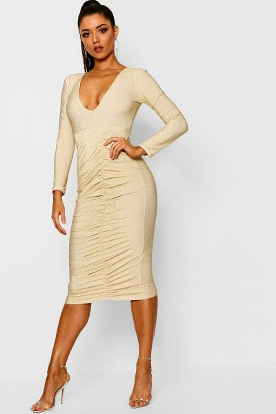 Boohoo Metallic Ruched Front Midi Dress in gold