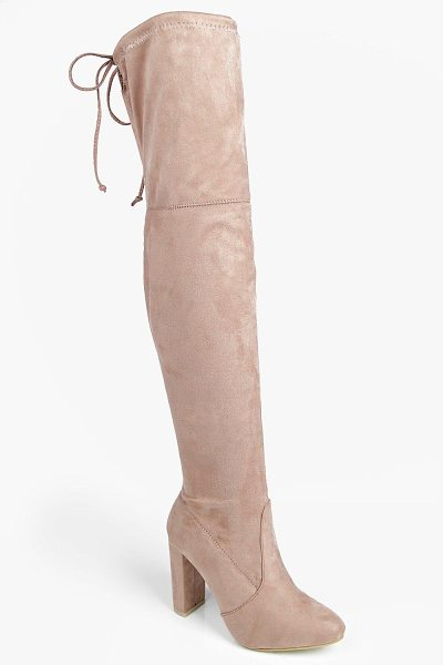 Boohoo Mia Block Heel Lace Up Back Thigh High Boots in mocha - We'll make sure your shoes keep you one stylish step...