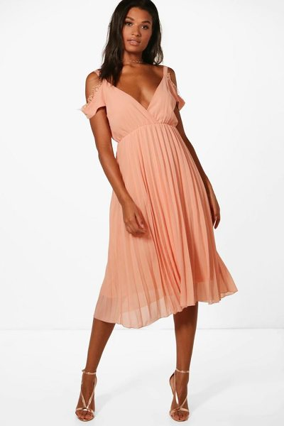 Boohoo Chiffon Lace Trim Cold Shoulder Pleated Skater in blush - Dresses are the most-wanted wardrobe item for...