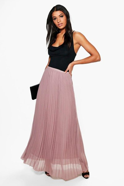 Boohoo Chiffon Pleated Maxi Skirt in taupe