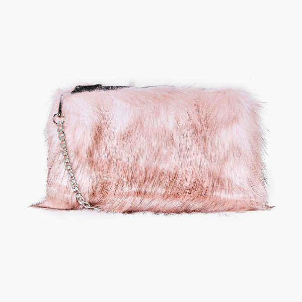 Boohoo Mia Faux Fur Cross Body Bag in pink - Add attitude with accessories for those fashion-forward...