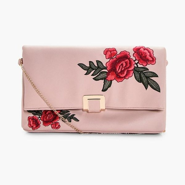 Boohoo Mia Floral Embroidered Oversized Clutch Bag in nude - Add attitude with accessories for those fashion-forward...