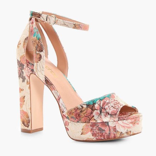 Boohoo Floral Printed Platform Heels in nude - We'll make sure your shoes keep you one stylish step...