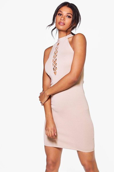 Boohoo Mia Lace Up High Neck Bodycon Dress in taupe - Mia Lace Up High Neck Bodycon Dress taupe