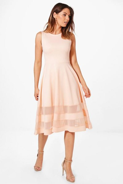 Boohoo Mesh Insert Hem Midi Skater Dress in blush - Every girl's wardrobe should include a skater dress. A...