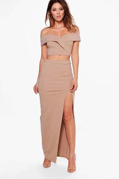 Boohoo Mia Off Shoulder Crop & Maxi Skirt Co-ord Set in sand - Co-ordinates are the quick way to quirky this seasonMake...