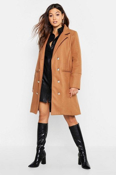 Boohoo Military Double Breasted Wool Look Coat in camel
