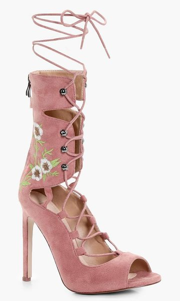 Boohoo Millie Ankle Band Lace Up Heels in blush