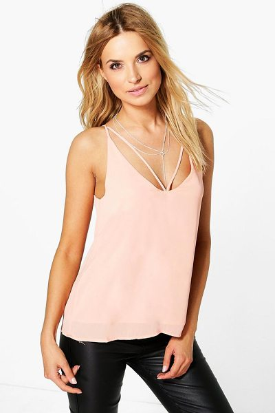 Boohoo Caged Strappy Woven Cami in apricot - Steal the style top spot in a statement separate from...