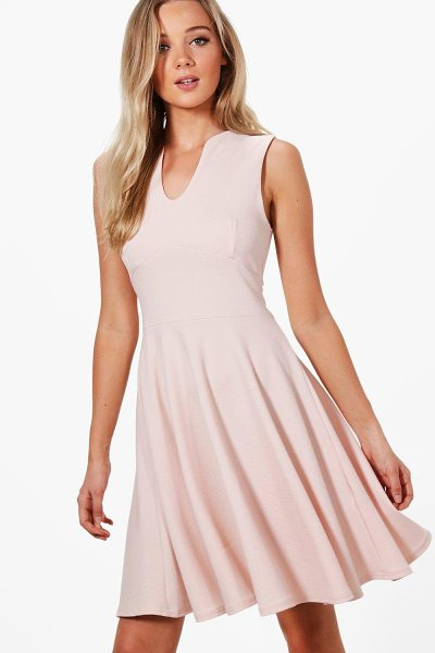 Boohoo Millie Fitted Skater Sleeveless Midi Dress in nude - Dresses are the most-wanted wardrobe item for...