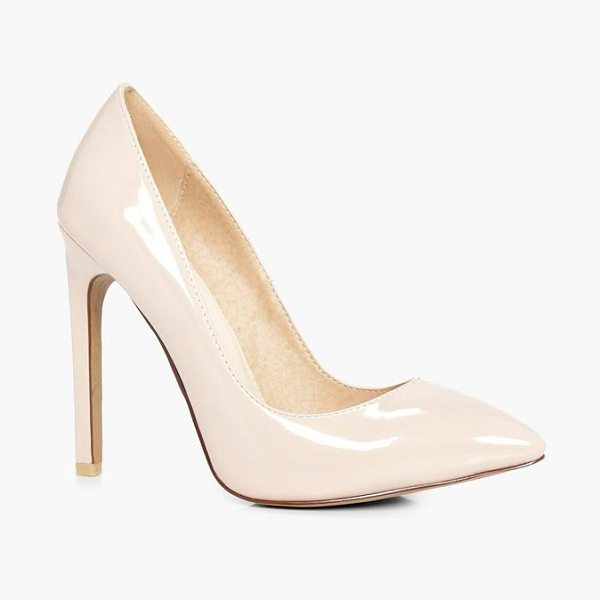 Boohoo Millie High Heel Court Shoes Patent in nude - We'll make sure your shoes keep you one stylish step...