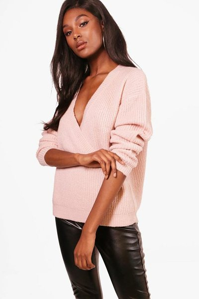 Boohoo Millie Oversized Plunge Wrap Over Jumper in blush - Nail new season knitwear in the jumpers and cardigans...
