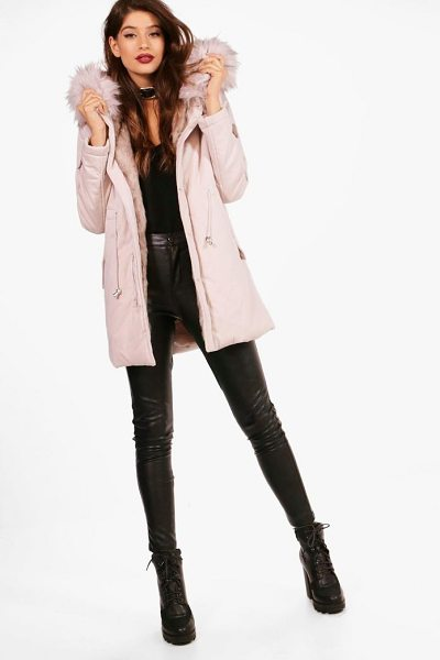 Boohoo Milly Boutique Faux Fur Trim Parka in pink - Wrap up in the latest coats and jackets and get...
