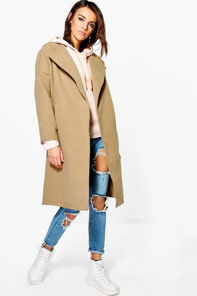 Boohoo Milly Collarless Wool Look Coat in camel - Wrap up in the latest coats and jackets and get...