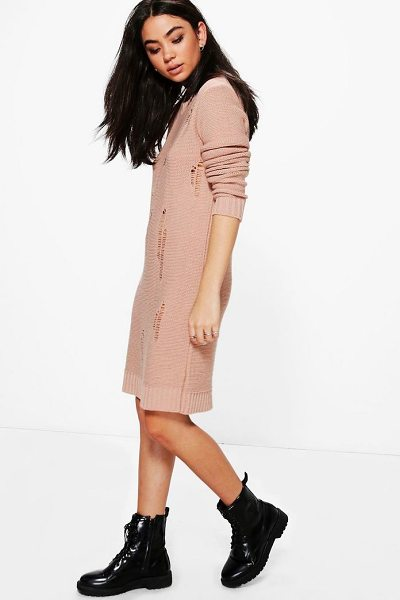 Boohoo Milly Distressed Jumper Dress in nude - Nail new season knitwear in the jumpers and cardigans...