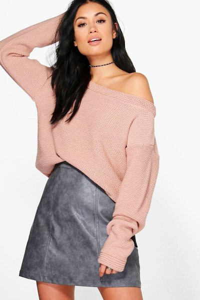 Boohoo Off The Shoulder Jumper in nude - Nail new season knitwear in the jumpers and cardigans...