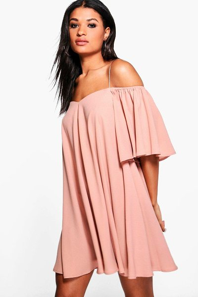 BOOHOO Minnie Cold Shoulder Strap Front Swing Dress - Dresses are the most-wanted wardrobe item for...