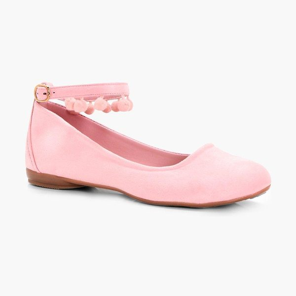 Boohoo Minnie Pom Ankle Band Ballet in pink - We'll make sure your shoes keep you one stylish step...