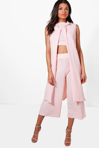 Boohoo 3 Piece Crop Culotte & Duster Co-Ord Set in blush - Co-ordinates are the quick way to quirky this seasonMake...