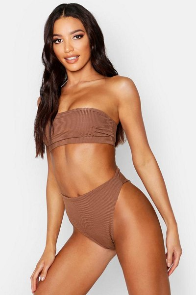 Boohoo Mix & Match Ribbed Bandeau in chocolate