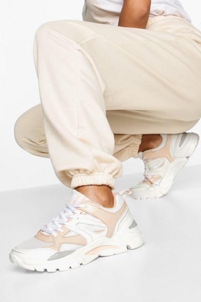 Boohoo Mixed Panel Chunky Sole Sneakers in peach