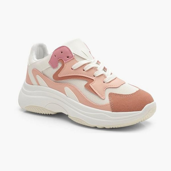 Boohoo Womens Mixed Panel Chunky Sneakers - Pink - 6 in pink