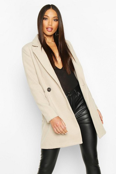 Boohoo Mock Horn Button Wool Look Coat in stone