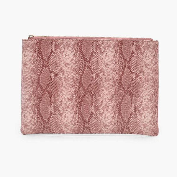 Boohoo Mol Faux Snake Clutch Bag in blush - Add attitude with accessories for those fashion-forward...