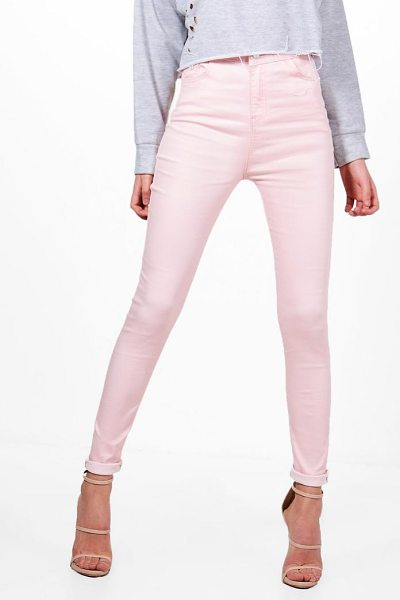 Boohoo Molly 5 Pocket Pastel Denim Skinny Jeans in blush - Jeans are the genius wear-with-anything wardrobe...