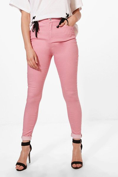Boohoo Molly 5 Pocket Pink Denim Skinny Jeans in dusky pink - Jeans are the genius wear-with-anything wardrobe...